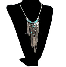 Bohemian vintage silver moon beads big flower pendant necklace long chain fringe necklace ethnic female tribal