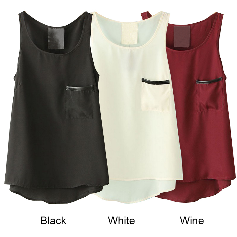 New Women Fashion Candy Colors Sleeveless Round Neck Pocket Tank Ladies Casual Loose Pullover Chiffon Shirt ZE3112#M4(China (Mainland))