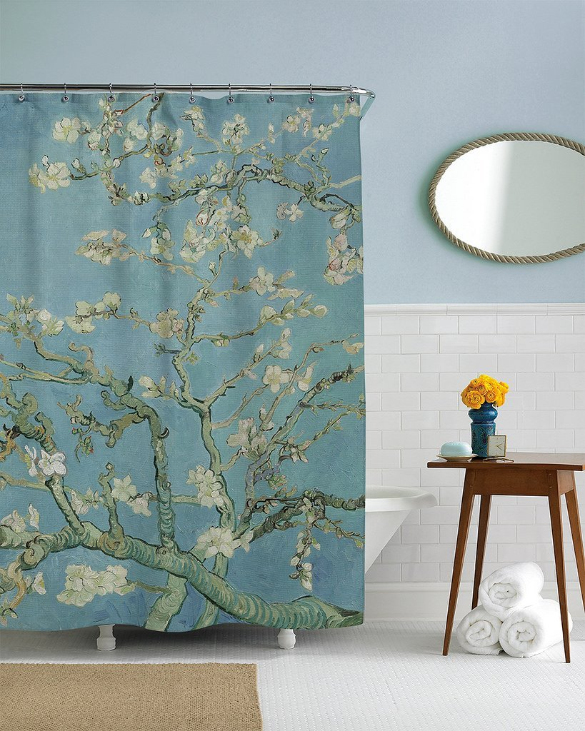 Van gogh custom waterproof fashion shower curtain 60 x 72 for 60s bathroom decor