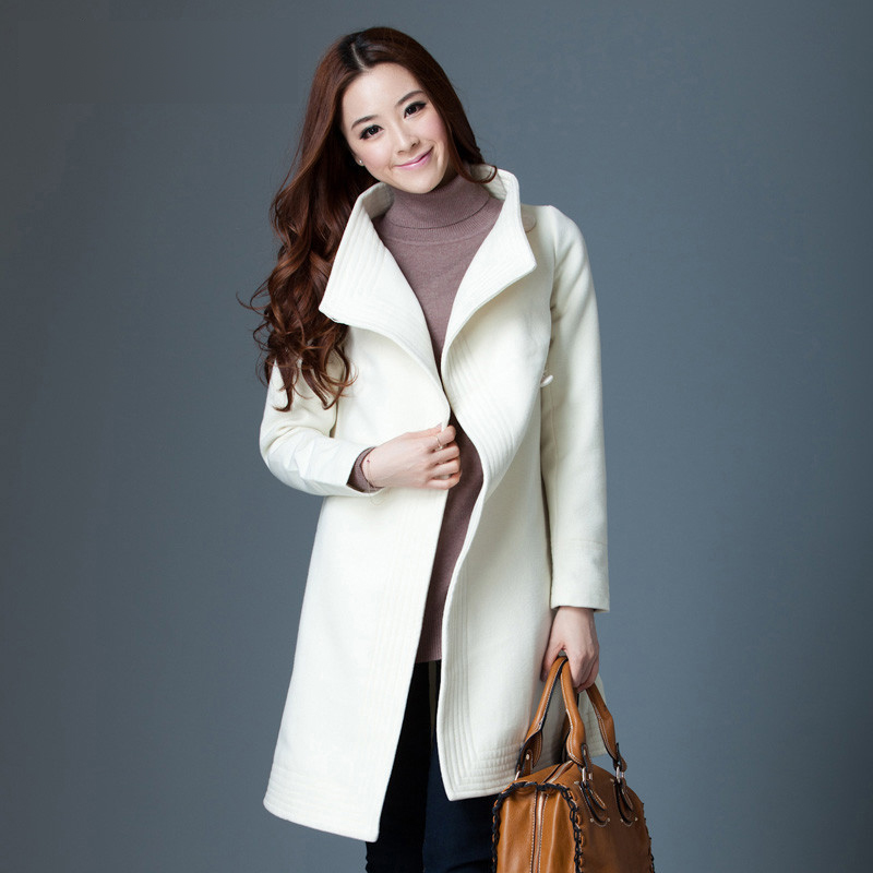 White Mid-Long New Arrival Women Wool Coat Cotton Blend Trench Coats 2016 Fashion Trendy Covered Button Outwear Clothing GQ1662(China (Mainland))