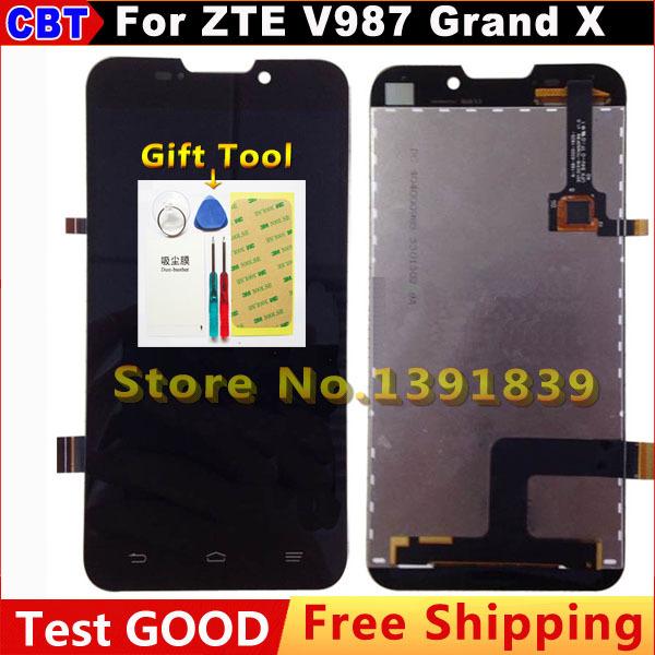 Original ZTE V987 LCD Screen Digitizer + Touch Screen For ZTE V987 ZTE Grand X V987 Quad LCD Screen + Free Shipping(China (Mainland))