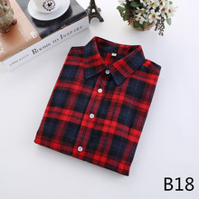 2016 Fashion Plaid Shirt Female College style women's Blouses Long Sleeve Flannel Shirt Plus Size Cotton Blusas Office tops(China (Mainland))