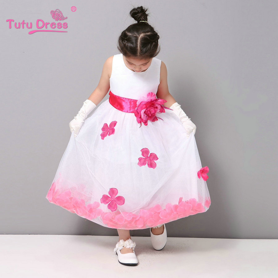 Flower Girl Dresses WHITE with Rose Petal Dress Wedding Easter Bridesmaid For Baby Children Toddler Teen Girls(China (Mainland))