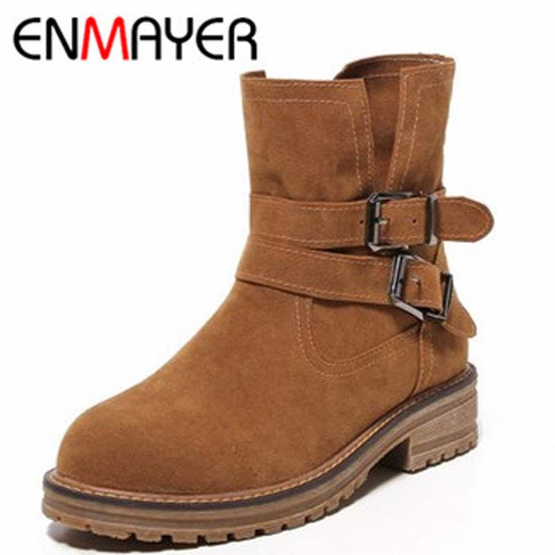 ENMAYER Winter Boots  Bottom Female Shoes Boots  Winter shoes Platform Boots Soft Leather Boots  Round Toe Square Heel    <br><br>Aliexpress