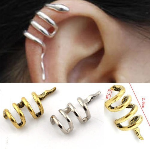 Vintage Gothic Punk Snake Cartilage Ear Cuff Clip Wrap Earrings Jewellery