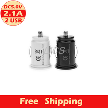 Free shipping High Quality Universal Dual USB double Port 5V 2.1A Car Charger, Smart Fuse Short Circuit Protection