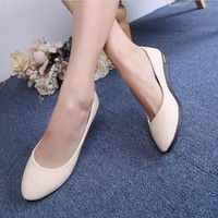 New Spring Women Shoes Casual Korean Sweet Round Toe Flats Pure Color Work Women Shoes 17