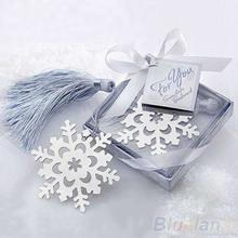 New Cute Snowflake Alloy bookmark Creative Exquisite ribbon box gift 096U(China (Mainland))