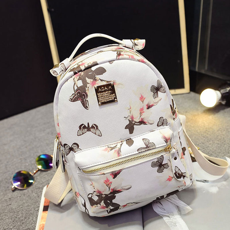 Women Backpack 2016 Hot Sale Fashion Causal High Quality Floral Printing PU Leather Backpacks For Girls,mochila BBP075(China (Mainland))