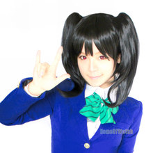 55cm Anime Lovelive Yazawa Nico 3 pcs set wig Short Straight Black Cosplay Wig for Free shipping (NWG0CP61154-BL2)(China (Mainland))