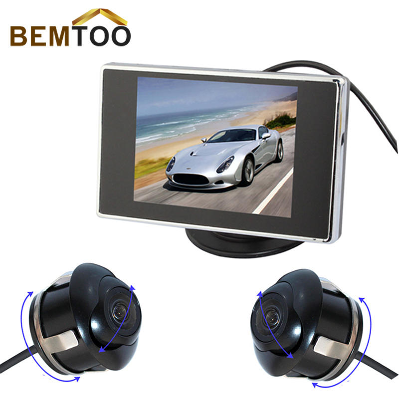 "BEMTOO CCD Newest Car Front Camera and reverse Camera backup with 360 degree rotation+3.5""LCD Monitor Car Parking KIT(China (Mainland))"
