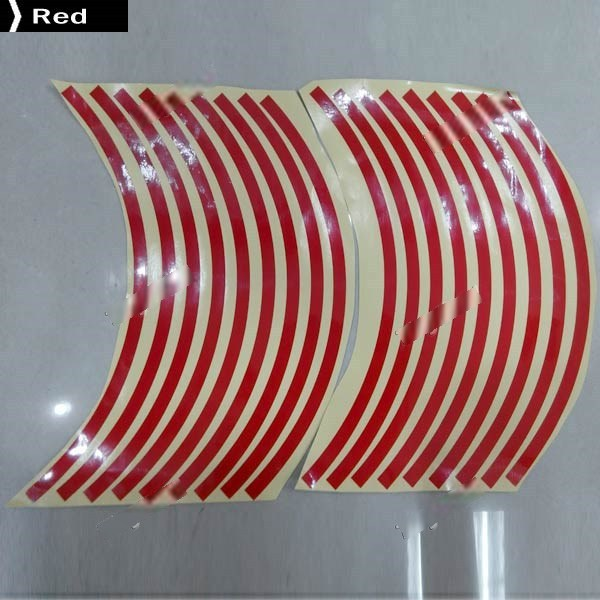 CosyLife 16+2pcs 18 High Quality Reflective Car Motorcycle Rim Stripe Wheel Decal Tape Sticker RST-317620(China (Mainland))