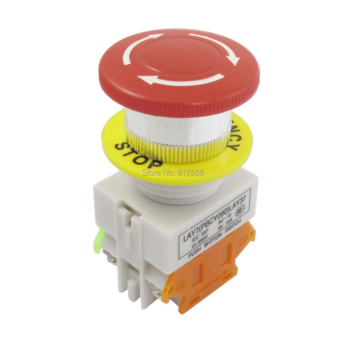 Red Mushroom Cap 1NO 1NC Emergency Stop Push Button Switch AC 660V 10A Ioxcz Diameter(China (Mainland))