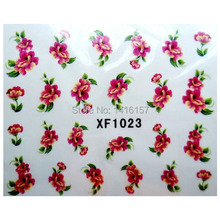 Min order is 10 mix order Water Transfer Nail Art Stickers Decal Beauty Red Peony Flowers