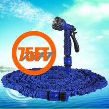 Free shipping 75ft Expandable Garden Hose Watering for Wash Car Pipe Water Magic Retractable with Spray Gun Drip Irrigation Blue(China (Mainland))
