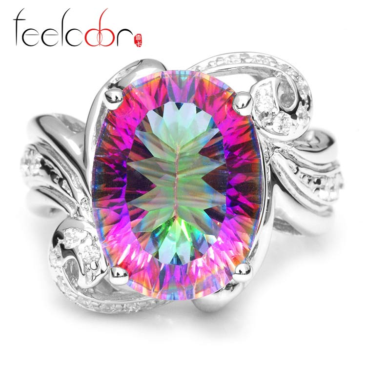 Brand New Hot Sale Luxury 11ct Genuine Rainbow Fire Mystic Gem Stone Topaz Pure Solid 925 Sterling Silver Ring Vintage Promotion<br><br>Aliexpress