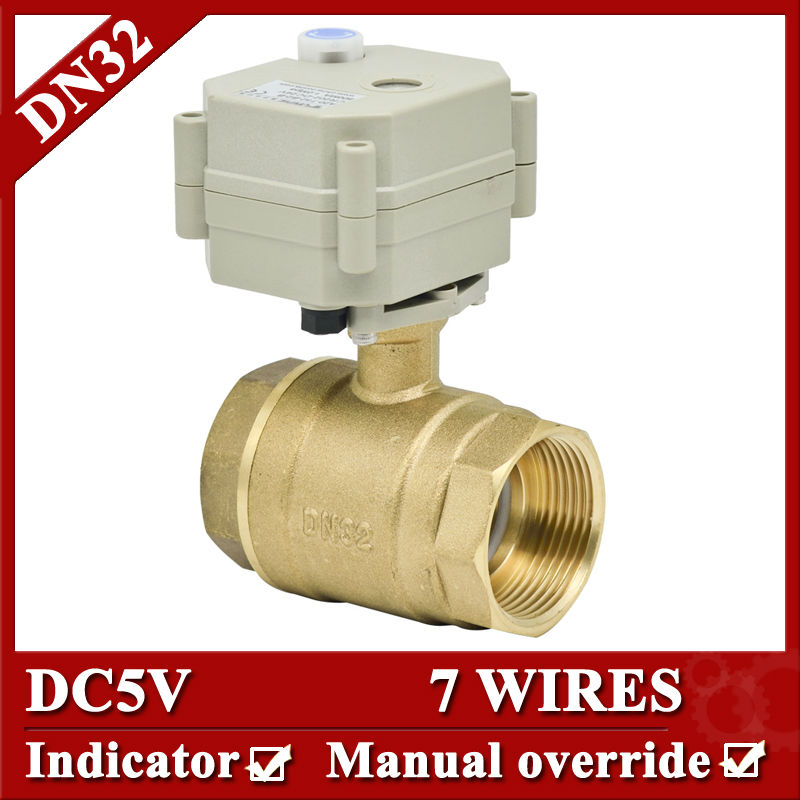 1 1/4'' Full Bore electric ball valve, DC5V 7 wires Brass Motorized Ball Valve with manual override, DN32 electric valve
