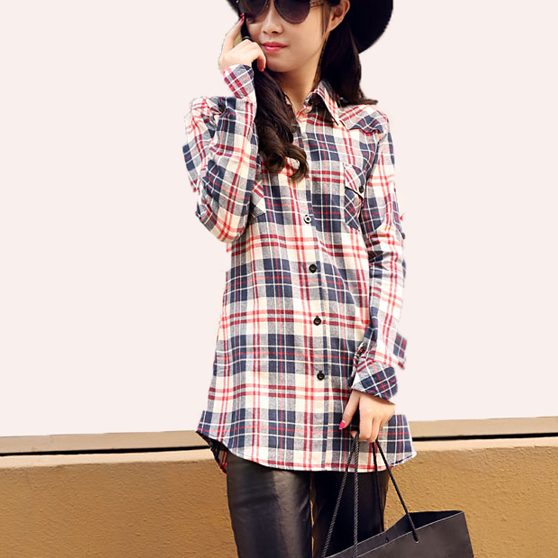 For a more casual look, wear a cheap flannel plaid shirt over a pair of boyfriend jeans. To keep the look feminine, wear girly footwear, such as a pair of strappy sandals or cute ballet flats. If you have plans to wear distressed jeans, Dr. Martens and a Seattle grunge tee, don't forget your leather moto jacket and deep wine-colored lipstick.