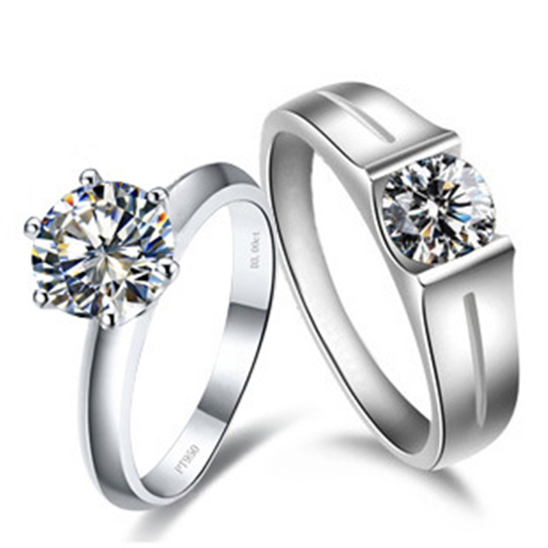 match solid white gold pair ring for