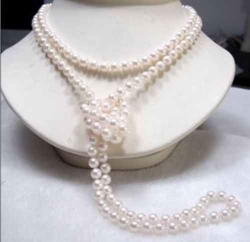 Здесь можно купить  7-8mm White FW Cultured Pearl Necklace 50inch 7-8mm White FW Cultured Pearl Necklace 50inch Ювелирные изделия и часы