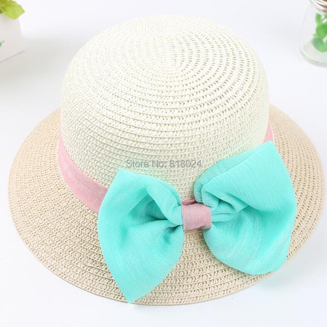 Девушки летом пляж шляпы с большой узел, дети соломенные шляпы, солнце флоппи шляпы для детей, несколько цветов, бесплатная доставка