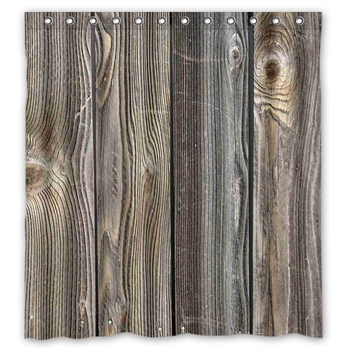 Newest Design Bath Curtain Vintage Rustic Old Barn Wood Printed Polyester Shower Curtain