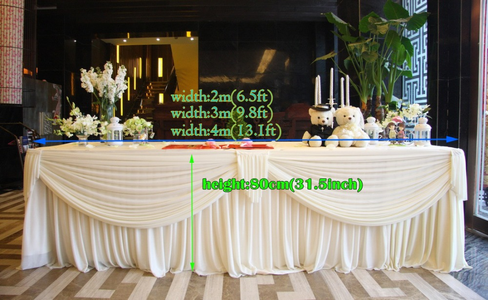 Wedding supplies White luxury Table Skirt With drape for Wedding Table Skirting with Velcro Table cloth pleated()