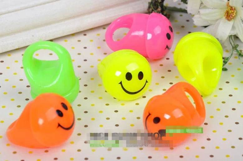50pcs/lot Flashing smiley rings led finger light ring night light-up toy props kids party supplies party colorful decoration(China (Mainland))