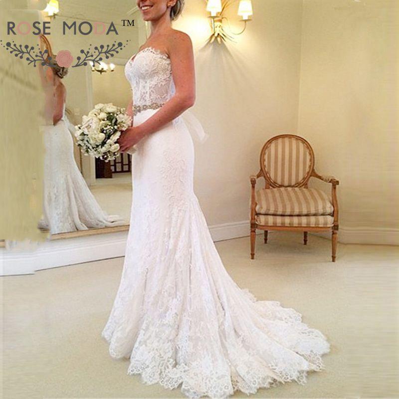 Stunning Chantilly Lace Mermaid Wedding Dress See Through