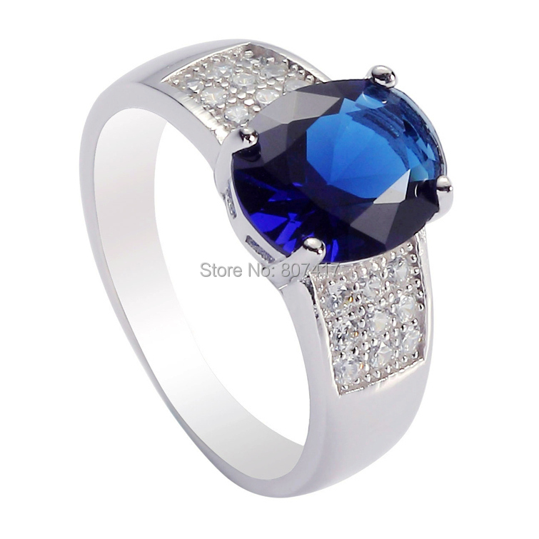 Casual Wholesale Dark Blue Cubic Zirconia S 925 sterling Silver Trendy ring R--3706 sz#6 7 8 9(China (Mainland))