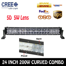 Cree 5D 24 Inch 200W Combo Curved LED Work Light Bar Off-road Driving Lamp SUV ATV Truck Trailer Boat Car Lamps External Lights(China (Mainland))