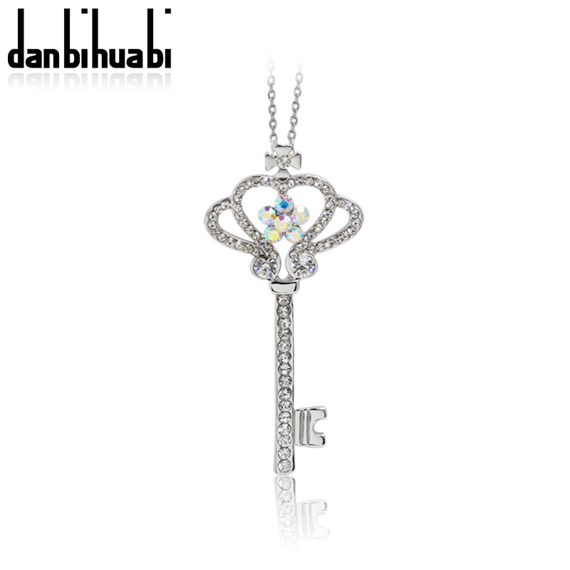 18k gold plated alloy+rhinestone long key necklaces pendants for best friend fashion vintage choker necklace&pendants jewelry(China (Mainland))