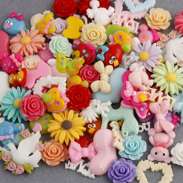 100pcs -Resin Sweet Craft Kawaii Deco Cabochon Random Mixed Size 10-33mm Scraobooking Wholesale(China (Mainland))