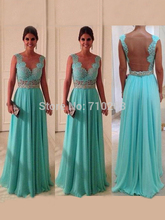 Flirty Evening Dresses Transparent Back A-line V-neck Sleeveless Chiffon Floor Length Long Evening Gowns With Lace KM-277(China (Mainland))