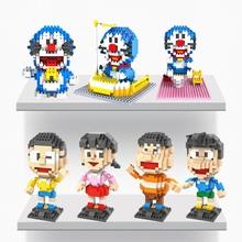 Free shipping LOZ Anime Cartoon Doraemon Blocks The Robot Cat Action Figure ABS DIY Toys Best Birthday Gift