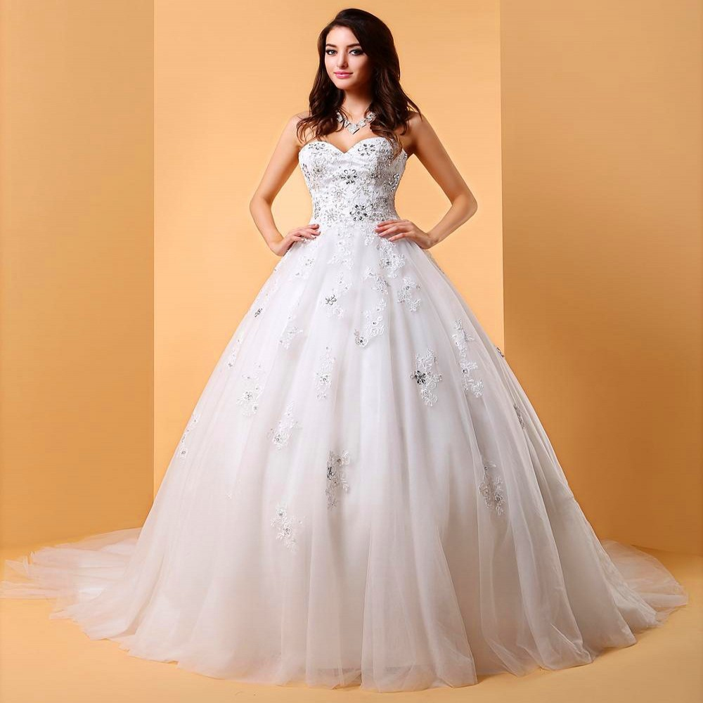 High Couture 2015 Ball Wedding Gowns Floor Length Sweetheart Rhinestone Luxury Crystal Wedding Dress Bridal Organza Long Train(China (Mainland))