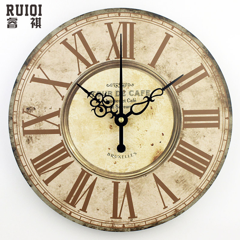 Home decor absolutely mute quartz wall clock retro roman for Living room wall clocks
