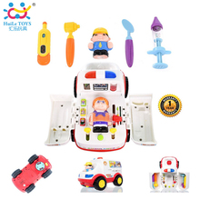 Play Basics Presents Pretend Doctor Set and Medical Kit Inside Bump and Go Toy Car with Lights and Sound / Plastic Ambulance Car(China (Mainland))