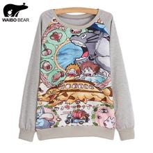 New 2016 spring women hoody Long sleeve totoro print sweatshirt hoodie sweatshirt casual Female hoodie 21 model(China (Mainland))