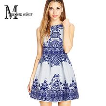 2016 Summer Women Elegant Dresses New Arrivals Fashion Floral Print Sleeveless Ball Gown Dress Short Ladies Dress European Style(China (Mainland))