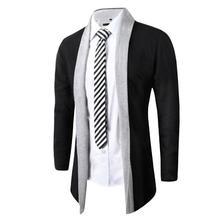 Man Splice Overcoat Outwear Knit Cardigan Trench Parka Long Sleeve Coat Jacket(China (Mainland))
