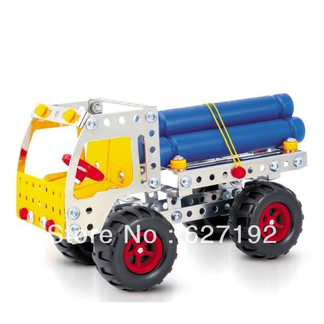 DIY Alloy Metal Stereo 3D Assembling Load Fir Wood Truck Car Model 168pcs Parts Educational toys(China (Mainland))