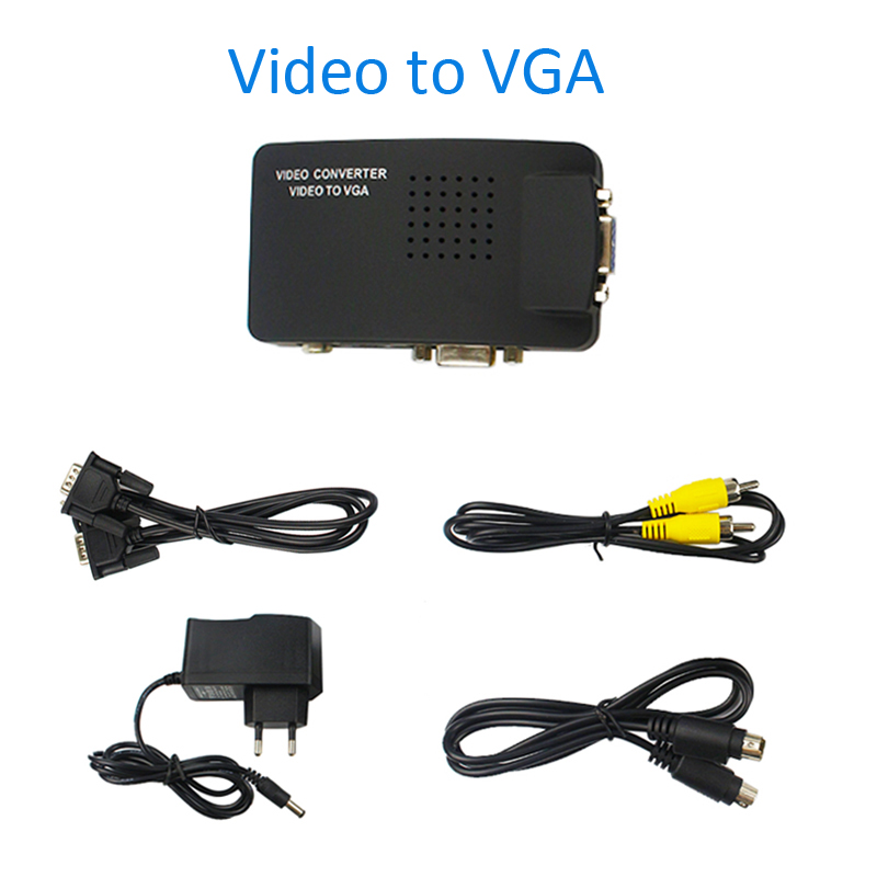 Universal Composite Video AV S-Video RCA to PC Laptop VGA TV Converter adapter switch box VIDEO TO VGA converter for Laptop(China (Mainland))