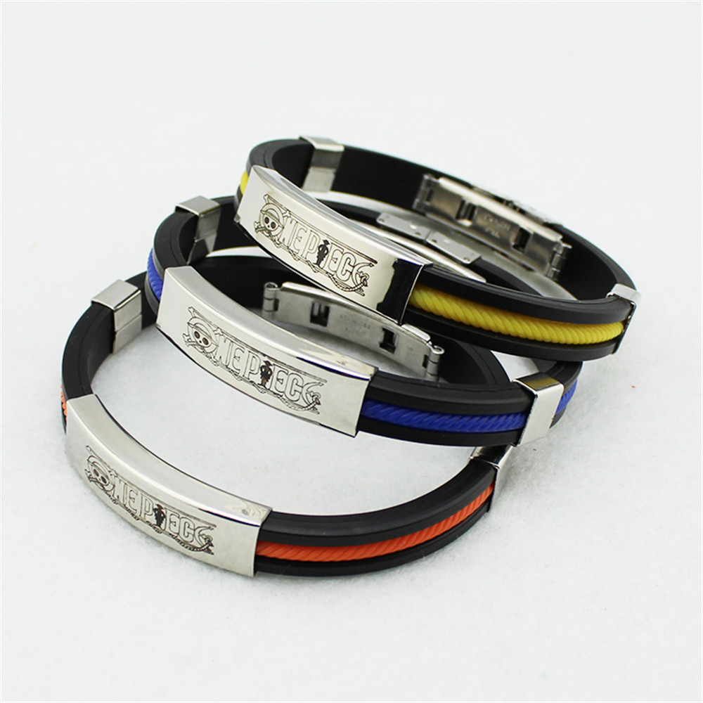 Wholesale KPOP Fan ONE PIECE OP Sport Silicone Titanium steel Friendship Wristband Bracelets Y2709(China (Mainland))
