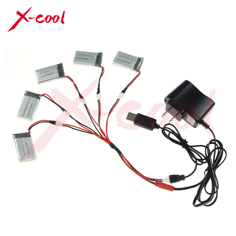 Free Shipping 5pcs 3.7V 680mAh Syma X5C X5 X5C-1 X5SC X5SC-1 Battery with USB Charger Cable Adapter Parts for Syma RC Quadcopter(China (Mainland))