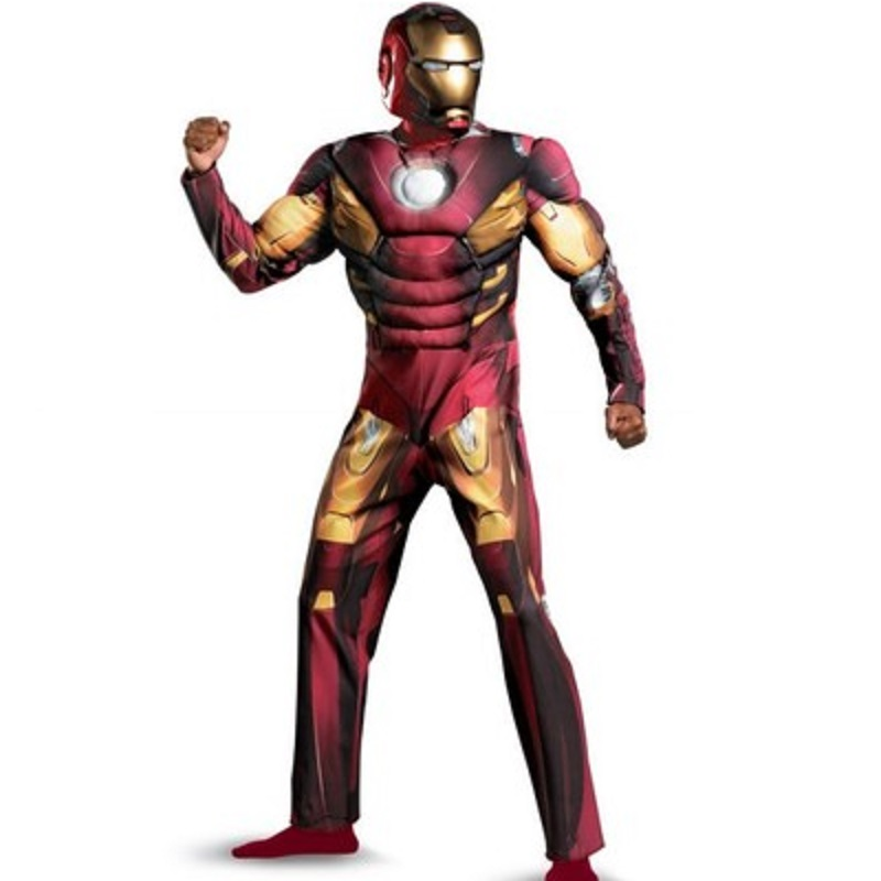 muscle kids iron man costume helmet mask adult suit cosplay for women adult adulto halloween costumes for men adult(China (Mainland))