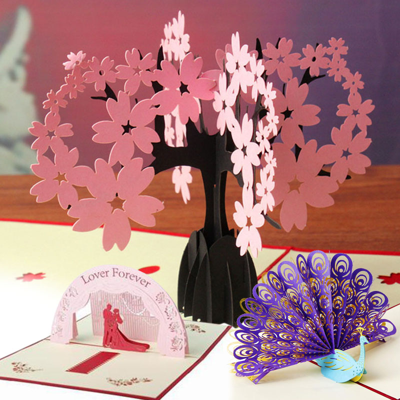 3D Pop Up Foldable Greeting Card Invitations Sakura Cherry Blossom Valentines Birthday Thank You Mother's Day(China (Mainland))