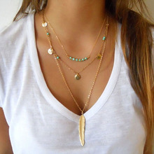 DIY Jewelry New Fashion Turquoise Beads Glaze Necklaces Leaf  3 Layer Necklace multilayer Necklaces for women SN671(China (Mainland))