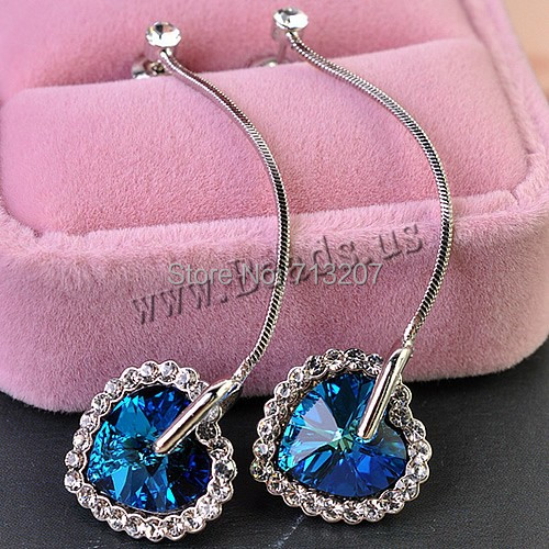 Free shipping!!!Heart,creative jewelry, platinum color plated, faceted &amp; with rhinestone, nickel, lead &amp; cadmium free, 15x57mm<br><br>Aliexpress