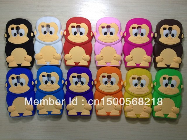 I8190 cartoon  3D monkey silicone mobile phone case for samsung galaxy 3 mini  soft rubber I8190